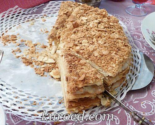 торт Наполеон с заварным кремом и коржами на пиве
