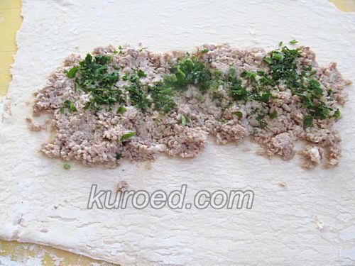 Рулет с мясом, пошаговое приготовление - на начинку - свежую зелень