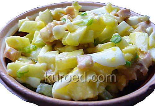 Салат из индейки с с зеленым луком и яблоками