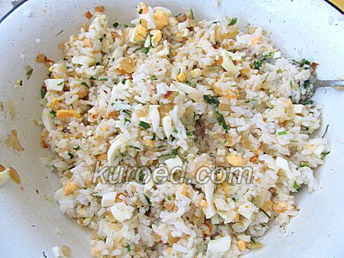 Слоеные пирожки с рисом и яйцами, пошаговое приготовление - приготовить начинку