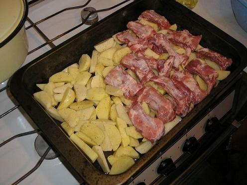 мясо с картошкой в духовке слоями рецепт с фото