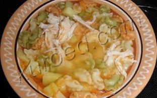 быстрый куриный суп с макаронами