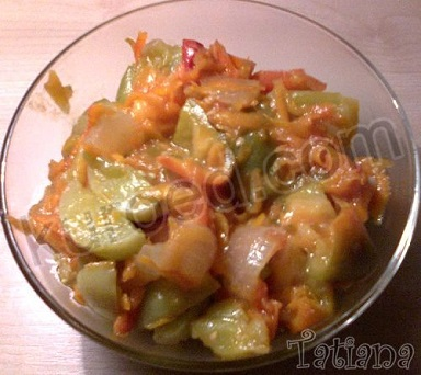 Салат из зеленых помидор и болгарского перца