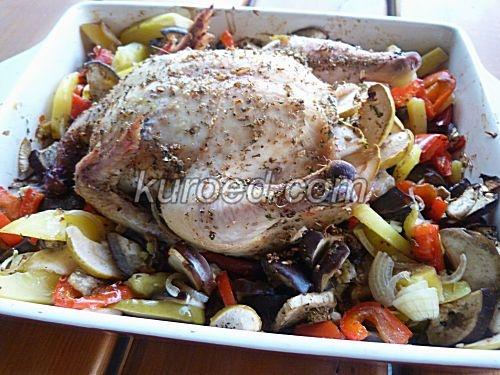 Курица в духовке овощами