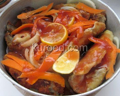 Нототения запеченная в томатном соусе