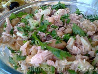 Рисовый салат с фасолью и тунцом – кулинарный рецепт