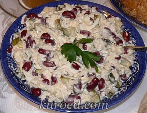 рецепты салатов с солеными огурцами и фасолью