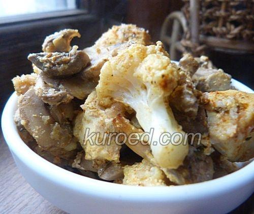 Сочная курица с грибами и цветной капустой