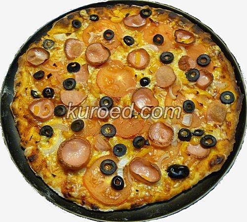 Пицца рецепт с колбасой и сыром и помидорами и майонезом